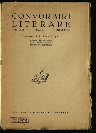 Convorbiri literare. 1939, An 72, nr. 1-9