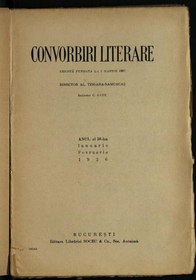 Convorbiri literare. 1926, An 58, nr. 1-12
