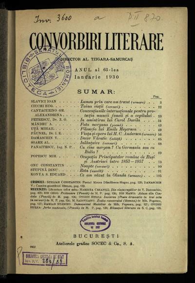 Convorbiri literare. 1930, An 63, nr. 1-12
