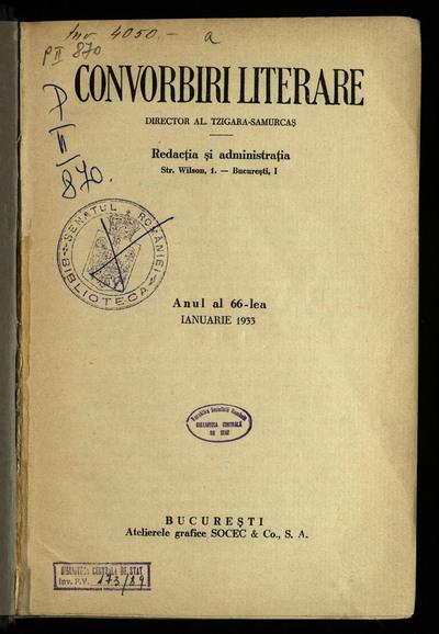 Convorbiri literare. 1933, An 66, nr. 1-12