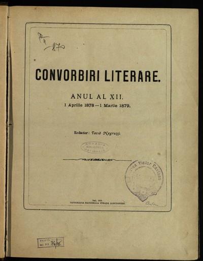 Convorbiri literare. 1878, An 12, nr. 1-12