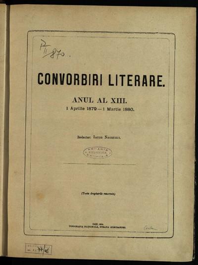 Convorbiri literare. 1879, An 13, nr. 1-12