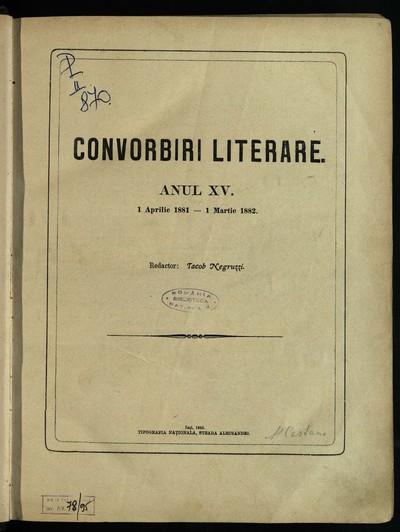 Convorbiri literare. 1881, An 15, nr. 1-12