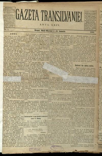 Gazeta de Transilvania. 1901, An 64, nr. 1-16, 18-20, 22-29, 31, 32, 35-38, 40, 42-45, 47, 49-59, 61-67, 69-73(ian-mart)