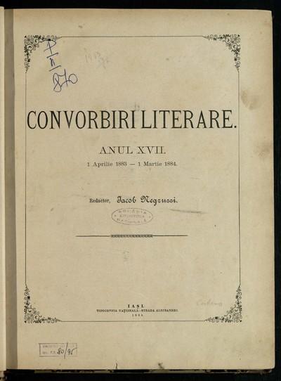 Convorbiri literare. 1883, An 17, nr. 1-12