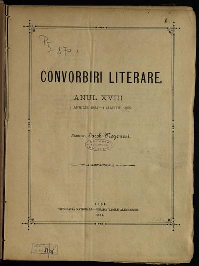 Convorbiri literare. 1884, An 18, nr. 1-12