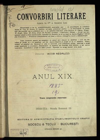 Convorbiri literare. 1885, An 19, nr. 1-12