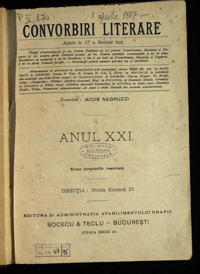 Convorbiri literare. 1887, An 21, nr. 1-12