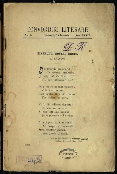 Convorbiri literare. 1900, An 34, fascicola 1-5, 7-12
