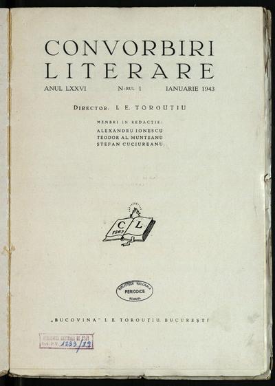 Convorbiri literare. 1943, An 76, nr. 1 - 12
