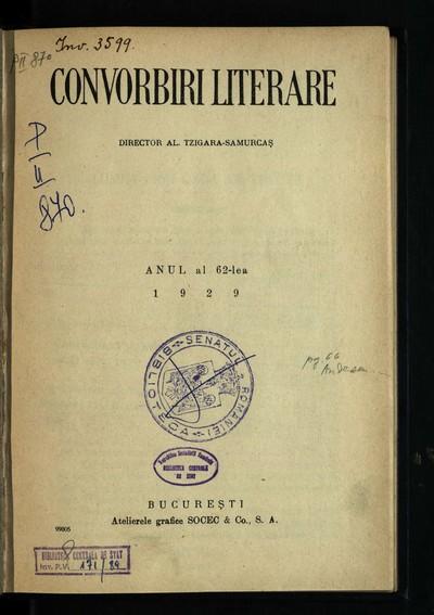 Convorbiri literare. 1929, An 62