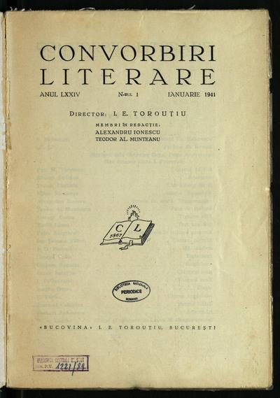 Convorbiri literare. 1941, An 74, nr. 1 - 7