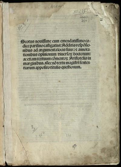 Quaestiones in quattuor libros Sententiarum. [Opus Oxoniense]