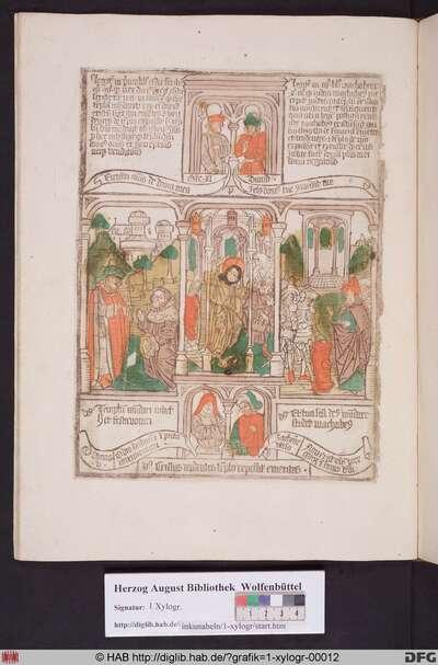 Drei biblische Szenen umgeben von vier Propheten. Links Darius erlaubt den Wiederaufbau des Tempels, mittig Christus vertreibt die Händler aus dem Tempel, rechts Judas Makkabäus reinigt den Tempel.