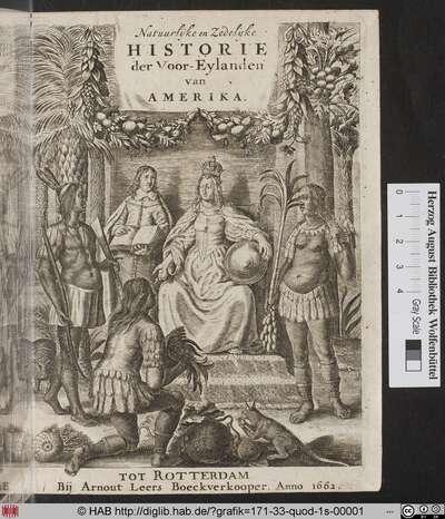 Titelblatt zu Natuurlyke En Zedelyke Historie Van D'Eylanden De Voor-Eylanden Van Amerika.