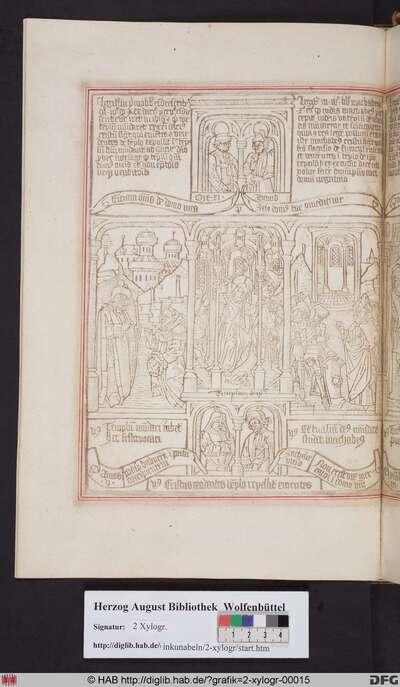 Drei biblische Szenen umgeben von vier Propheten. Mittig: Christus vertreibt die Geldwechsler aus dem Tempel. Links: Darius erlaubt Esra den Wiederaufbau des Tempels. Rechts: Judas Makkabäus lässt den Tempel reinigen.