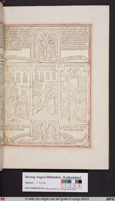 Drei biblische Szenen umgeben von vier Propheten. Mittig: Christus vor Pilatus, der seine Hände wäscht. Links: Elias vor Isebel. Rechts: Die Babylonier fordern Daniels Tod.