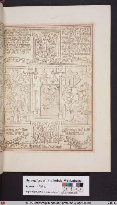 Drei biblische Szenen umgeben von vier Propheten. Mittig: Christus erscheint seinen Jüngern. Links: Josef gibt sich seinen Brüdern zu erkennen. Rechts: Die Heimkehr des verlorenen Sohnes.