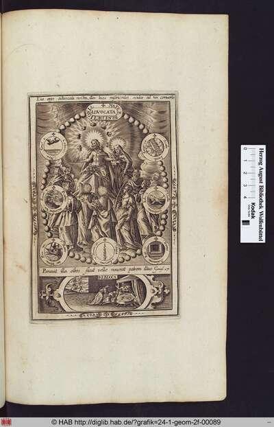 Maria und Christus, umgeben von Mariensymbolen, darunter eine Kartusche mit der Darstellung Rebeccas, die  ihrem jüngeren Sohn Jakob hilft, sich den Erstgeburtssegen von seinem Vater zu erschleichen.