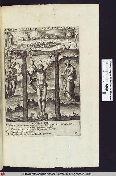 Martyrium des Hl.Marius und seiner Frau der Hl. Martha im Vordergrund, links von ihnen ihre Söhne Audifax und Abachum, hinten links Martyrium des Hl.Cyprian und der Hl.Justina, mittig 46 getötete Märtyrer, rechts Martyrium des Hl. Valentinus.