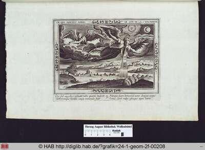 Vision des Engels mit der vierten Posaune: die Sonne, der Mond und die Sterne werden teilweise verdunkelt und der Engel warnt vor den folgenden drei Posaunen.