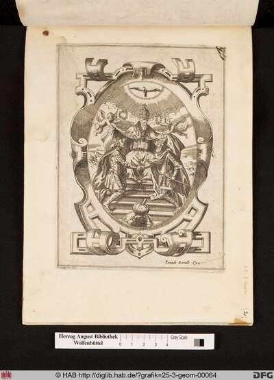 Papst Pius V. feiert die Allianz zwischen Phillip II von Spanien (links) und der Doge von Venedig (rechts) in Bezug auf der Schlacht von Lepanto. Eine Abbildung der besiegte osmanischen Armee befindet sich am unteren Rand der Kartusche.