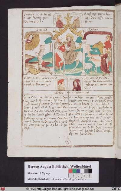 Drei biblische Szenen umgeben von vier Propheten. Links die David erhält den göttlichen Befehl zurückzukehren, mittig die Rückkehr der Heiligen Familie aus Ägypten, rechts die Rückkehr Jacobs.