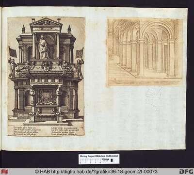 links: Grabmonument, in dem sich unten ein Sarkophag mit einem liegenden unbekleideten Mann befindet. Über diesem kniet ein betender Mann vor dem Abbild des Heiligen Petrus.