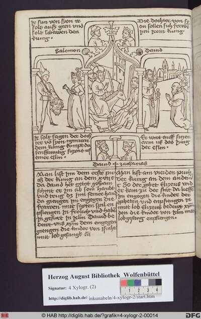 Drei biblische Szenen umgeben von vier Propheten. Mittig: Der Einzug Christi in Jerusalem. Links: Davids Rückkehr mit dem Kopf des Goliath. Rechts: Prophetenjünger begrüßen Elisa.