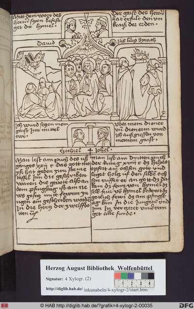 Drei biblische Szenen umgeben von vier Propheten. Mittig: Die Ausgießung des Heiligen Geistes. Links: Moses empfängt die Gesetzestafeln. Rechts: Das Brandopfer des Elias auf dem Karmel.