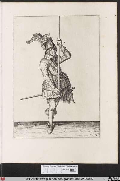 Zum 3. wie ein Soldat fur die andere herfassung den Spies mit der lincken handt empor aufheben und mit der rechten denselben zu underst am ende ringfertig fassen und greiffen soll.