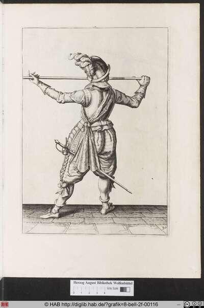 Zum 30. wie er fur die erste herfassung den Spies mit der lincken handt weitter erreichen und angreiffen sich selbsten auch zum wiederumb kheren gefast machen soll.