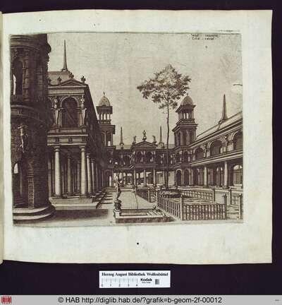 Platz mit einem Rundbau auf der linken Seite, einer hervorgehobenen Loggia, plaziert auf einer Kolonnade mit toskanischen Säulen. Im Hintergrund befindet sich ein Obelisk, rechts ein Turm, verbunden mit einem Gebäude samt Loggia. Im Vordergrund ein Brunnen mit einer männlichen Skulptur, die einen Wasserkrug hält.