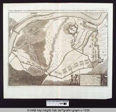 Abbildung welcher gestalt die Vestung Phillippsburg von der Köngl. Frantzeischen Armee under dem Comando des Gen.  Duc. de Anguin ist den 29 Aug. belägärt beschossen und den 9 sept 1644 mit Acord erobert worden