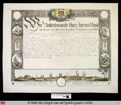 Urkunde der Stadt Braunschweig