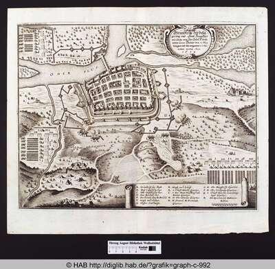Grundriß der belägerung und statt Franckfurt wie solche von Ihr Churf. Durchl. neben gener. banner den 13. May belägert und den volgenden 23 dito erobert worden Anno. 1634