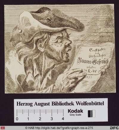 Mann mit Dreispitz liest eine Zeitung