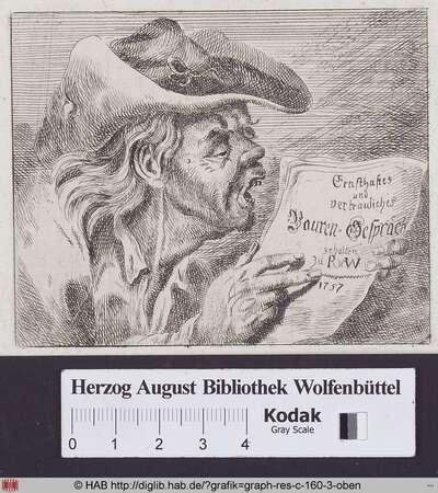 Brustbild eines alten lesenden Bauern