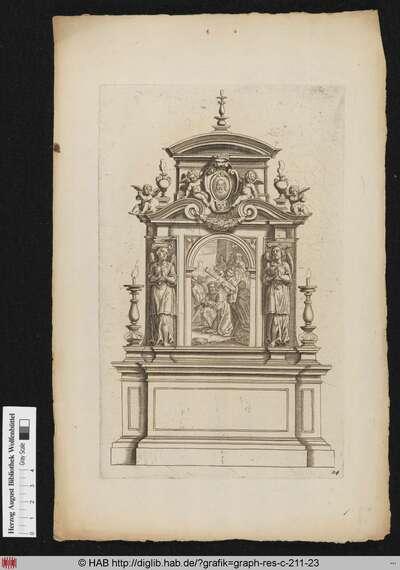 Entwurf für einen Altar nach der Architektur mit einem Bildnis des Christus in einer Kartusche, Putti, Rauchgefäßen, Feston, Engeln und Kerzen, welche sich um die Darstellung der Kreuztragung gruppieren.