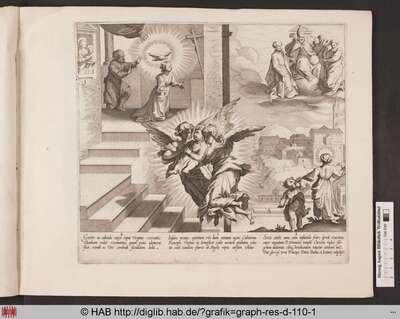 Der Heiligen Katharina von Siena erscheint in einer Vision Christus im Ornat des Papstes, umgeben von Petrus, Paulus und Johannes; Katharinas Vater erblickt eine weiße Taube, die über ihrem Kopf schwebt.