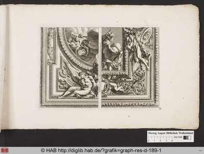Zweigeteilte Ansicht eines Deckenentwurfs; eine gerahmte Malerei eines Kampfes in den Wolken, die umgeben ist von ornamentalen Verzierungen, zwei menschlichen Figuren, einem Putto mit Fanfaren, Schildern, Waffen und Festons.