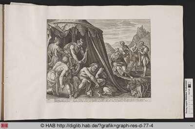 Du sollst deinen Vater und deine Mutter ehren: Da Noah trunken von seinem angebauten Wein, entblößt in seinem Zelt liegt, beschließen seine Söhne ihn mit einem Überwurf zu bedecken.