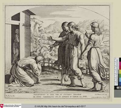 Apparuerunt ei tres Viri, et cucurrit Abraham de Ostio Tabernaculi sui, et adoravit in Terram [Drei Engel erscheinen Abraham]