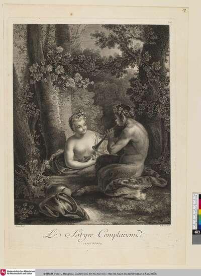 Le satyre complaisant [Ein gefälliger Satyr; Ein Satyr spielt die Flöte neben ihm eine Nymphe]