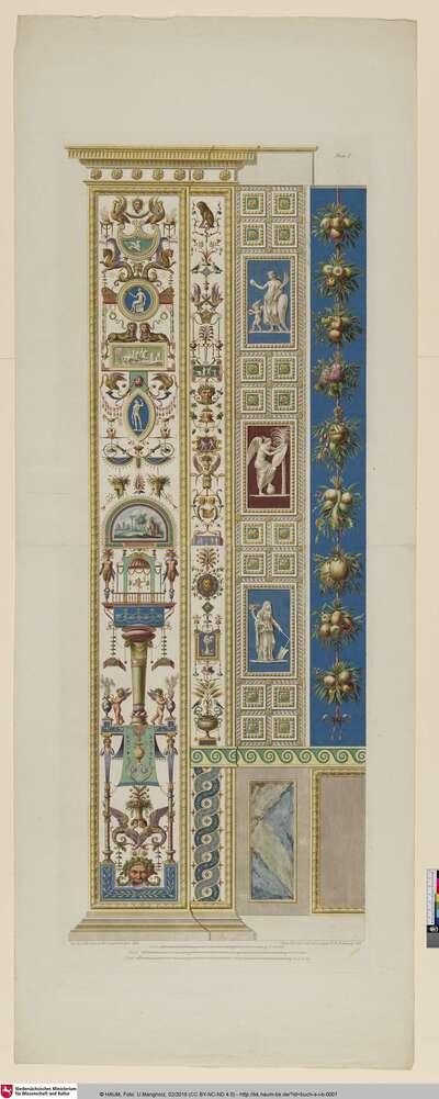 [Loggie di Rafaele nel Vaticano, Roma 1776/1777, Parte prima, Taf. 1: Pilaster Loggia I (Verzierung, welche auf einer Maske ruht)]