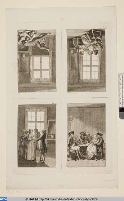 Oben links: Harlekin ist in seiner patriotischen Wut über den Stickrahmen gefallen; Oben rechts: Harlekin sitzt links nachdenkend auf einem Lehnstuhl; Unten links: Leander verlobt sich mit Agnete; Unten rechts: Vier Offiziere in einem Weinhause