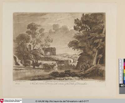 [Landschaft mit dem Zeichner rechts vorne, bei dem Wasser, im Grunde römische Ruinen.; A Landscape, with Peasants and Cattle. The Colosseum and the Arch of Septimius Severus are seen in the Distance. Claude himself is represented drawing.]