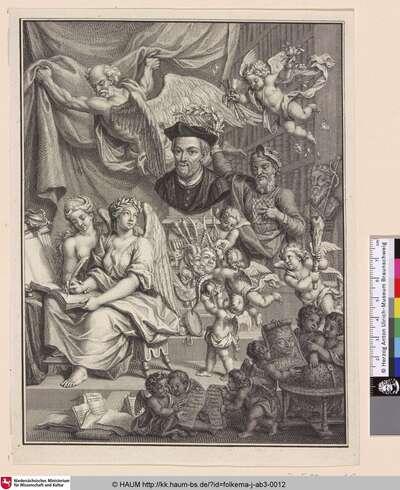 [Frontispiz mit einer Allegorie auf die Schreibkunst von Rabelais; Frontispiece with an Allegory to the Penmanship of Rabelais]