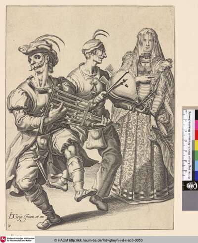 [Verschleierte Frau mit zwei maskierten Musikanten, welche auf einem Rost und einem Blasebalg spielen; A Veiled Woman with Two Musicians Playing a Gridiron and a Bellows]