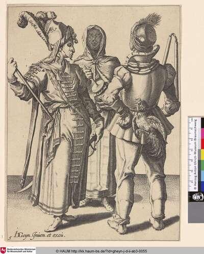 [Ein orientalischer Adliger, ein Bauer mit einem Hahn am Gürtel und eine verschleierte Frau; An Oriental Grandee, a Peasant with a Cock Attached to His Belt and a Veiled Woman Playing the Rumbling-Pot]